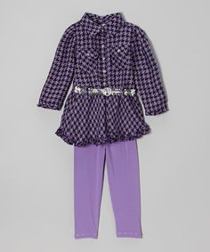 Love this Purple Houndstooth Belted Tunic & Leggings - Infant on #zulily! #zulilyfinds