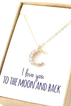 """I love you to the moon and back"" Gold Crescent Moon Necklace by powderandjade,"