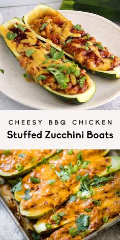 Cheesy BBQ Chicken Stuffed Zucchini Boats Delicious, low carb bbq chicken stuffed zucchini boats topped with cheddar cheese. These flavorful, easy zucchini boats are a great way to use leftover chicken and make the perfect weeknight dinner! Healthy Dinner Recipes, Low Carb Recipes, Cooking Recipes, Healthy Zucchini Recipes, Shredded Zucchini Recipes, Soup Recipes, Yummy Vegetable Recipes, Recipe Zucchini, Healthy Weeknight Dinners