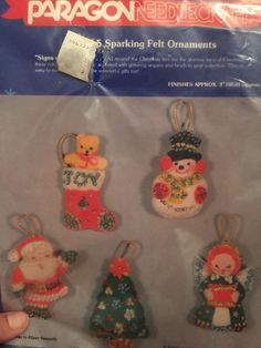 Paragon Felt Signs Of Christmas Ornaments Kit 6610 Set Of 5 Sparkling Stitched…