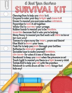 A FIRST YEAR TEACHERS SURVIVAL KIT - TeachersPayTeachers.com