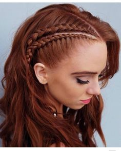 This lovely braided red hair color is new school braids 2019 Hair Color Trends That You Should Copy Right Away Redhead Hairstyles, Box Braids Hairstyles, Cute Hairstyles, Wedding Hairstyles, Viking Hairstyles, Hairstyles Videos, Hairstyle Short, Office Hairstyles, Anime Hairstyles
