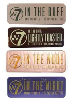 W7's Ultimate Eyeshadow Collection with Natural Nudes and Smokey Shades -  Four Gorgeous, 12-in-1 palette sets: In The Buff + In The Nude + In The Night + Lightly Toasted