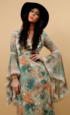 70s Tie Dye FiREWORKS Bell ANGEL Sleeve MAXi Dress / by nanometer, $159.00