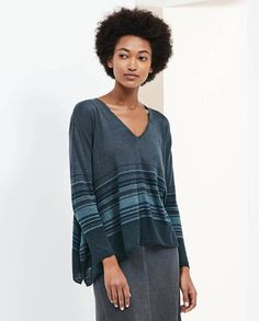 Poetry - Striped v-neck sweater - Generously styled with wide, curved hemlines for a relaxed and swingy fit, this lightweight, fine linen sweater has a contrasting striped pattern in tonal colour. With a v-neckline, dropped shoulders and neat fitting, full-length sleeves. 100% linen, length is measured to longest point at side