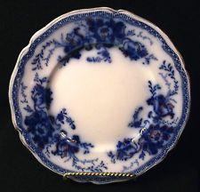 """Flow Blue RICHMOND Plate Johnson Brothers 7¼"""" Gold Decoration Antique Cobalt VGC"""