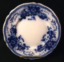"Flow Blue RICHMOND Plate Johnson Brothers 7¼"" Gold Decoration Antique Cobalt VGC"