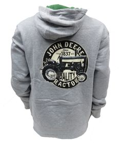 John Deere `JD 1837 Quality Tractors` Back design with Front Logo Hooded Sweatshirt
