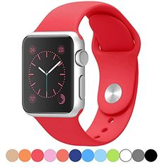 Icesnail Silicone Soft Replacement Bands for 38mm / 42mm All Apple Watch Models (3 Pieces Band Included 2 Lengths for Apple Watch Series 1 2 Sport & Edition 2016) 42mm Red