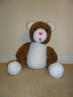 Knit teddy bear done with chenille yarn, Debbie Bliss pattern