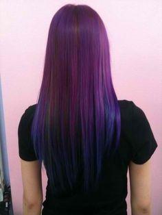 Cute purple and blue ombré hair color. Long Straight hair