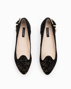 Ruby black suede flats with gold studs