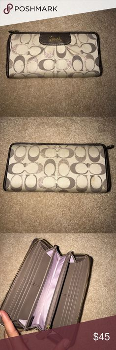 Coach wallet Minor spots on cloth material but otherwise good used condition, full zip wallet Coach Bags Wallets