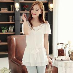 J78956 Korean fashion pure color slim flouncing sleeve chiffon shirt white