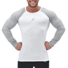6dc421de Detector Mens Fitness Running Tops Tight Long Sleeves Round Neck Shirts  Elastic Quick Dry Jerseys