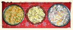 Silvester-Salate 2012: Käsesalat, Eiersalat, Heringsalat (v.l.n.r.)