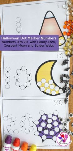 Halloween Themed Dot the Number & Count the Dot: Candy Corn Crescent Moon & Spider Web Monster Activities, Fine Motor Activities For Kids, Halloween Activities For Kids, Fun Halloween Crafts, Printable Activities For Kids, Halloween Kids, Halloween Themes, Crafts For Kids, Number Activities