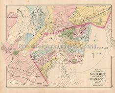 John New Brunswick Antique Map Original Canadian Maritime Vintage Maps, Antique Maps, Vintage Wall Art, Saint John New Brunswick, British America, Reproduction, Pigment Ink, Canada, Stretched Canvas Prints