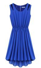 Blue Sleeveless Hollow Shoulder Pleated Dress $22.95