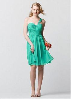 Alluring Chiffon One Shoulder Neckline Natural Waistline Knee-length A-line Bridesmaid Dress
