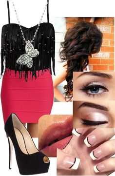 """""""clubbing!?(:"""" by purple-ninja56 ❤ liked on Polyvore-minus that necklace i like this and that hair cuz im balled lol"""