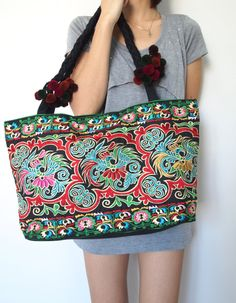 Ethnic Hobo Boho Asian Embroidered Thai Tote Shoulder Shoppers