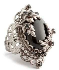 Juicy Couture Black Filigree Adjustable Ring