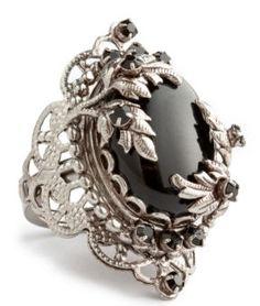 Juicy Couture Black Filigree Adjustable Ring