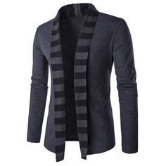 Striped Shawl Collar Cardigan in Slim-Fit - GRAY M