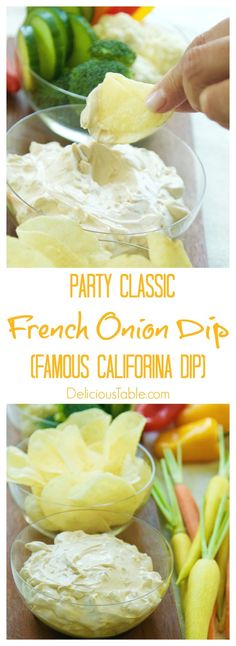 Easy 2 ingredient French Onion Dip, aka Lipton California Dip is a classic American party dip. Serve potato chips and cut veggies as dippers.