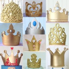 I really love making all types of crowns and tiaras from fondant. Each one is unique and original! All handmade. Some have molds on them. {Scroll to see the next collage} - Ohbe Hzi Fondant Crown, Crown Cake, Fondant Toppers, Fondant Cakes, Cupcake Cakes, Cake Decorating Techniques, Cake Decorating Tutorials, Tiara Cake, Prince Cake