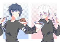 Soraru & Mafumafu - Utaite Sorry for the curry! Vocaloid, Anime Boys, Manga Anime, Anime Art, Anime Style, Yandere, Chibi, Character Art, Character Design
