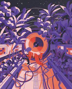 Matteo Berton - Space illustrations for IL mag - personal sceneries Art And Illustration, Astronaut Illustration, Illustrations And Posters, Illustrations Vintage, Anime Hand, Posca Art, Retro Print, Art Journal Inspiration, Design Inspiration