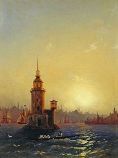 Ivan Konstantinovich Aivazovsky: Type Leandrovoy tower in Konstantinop. 1848 / The State Tretyakov Gallery, Moscow, Russia