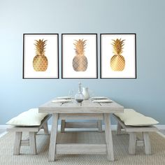 Beau Set Of 3 Shades Of Gold Pineapples 8x10 , 11x14 Or 13X19 Coastal Boho
