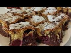 Prajitura pufoasa cu cirese sau visine. - YouTube Brownie Cake, Brownies, Sour Cherry, No Cook Desserts, Cake Recipes, Deserts, Strawberry, Make It Yourself, Cooking
