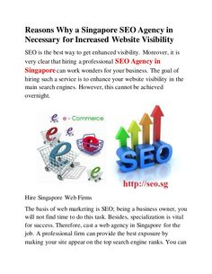 The good thing about SEO Experts Singapore is that you do not need to invest substantial costs to promote your business. The SEO firm's packages include the only concern you need to pay for; and at a practical cost.
