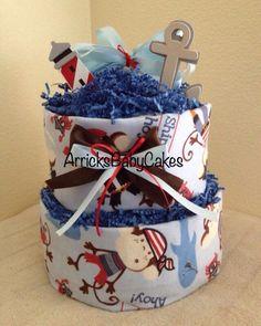 The Ship Ahoy 2 Tier Baby Boy Diaper Cake ⚓️⚓️ www.ArricksBabyCakes.Storenvy.com #ShippingIsAvailable#ArricksBabyCakes#