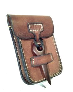 Leather pouch with wooden accent ( Padouk) By L. Litinsky (LZZER)