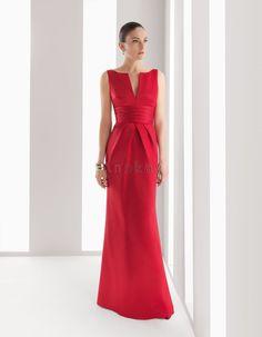 Modische Rote U Boot Ausschnitt A Line Abendkleider PMS1305526
