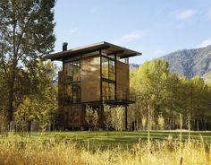 Dwell - Inside Washington State's Steel Cabin On Stilts