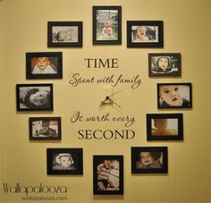 Photo Wall Clock: Laminate or frame your old family photos. This is a great idea for your home decor (living room, nook, study, office, and more). Love this craft & DIY project for family history and heritage craft! Cool Diy, Easy Diy, Simple Diy, Photo Wall Clocks, Photo Clock, Picture Clock, Photowall Ideas, Display Family Photos, Display Pictures