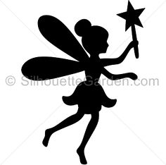 Fairy silhouette clip art. Download free versions of the image in EPS, JPG, PDF, PNG, and SVG formats at http://silhouettegarden.com/download/fairy-silhouette/