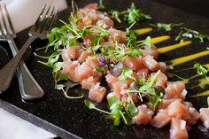 Healthy Tuna Tartare Recipe with micro greens and egg yolk.  One of my favorite ways to make tuna!