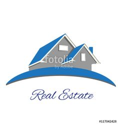 """Download the royalty-free vector """"Logo Real estate blue house"""" designed by glopphy at the lowest price on Fotolia.com. Browse our cheap image bank online to find the perfect stock vector for your marketing projects!"""