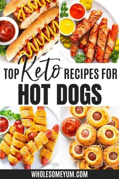 The best hot dog recipes for a low carb and keto lifestyle! #wholesomeyum Hot Dog Recipes, Top Recipes, Low Carb Recipes, Real Food Recipes, Keto Diet For Beginners, Recipes For Beginners, Hot Dog Buns, Hot Dogs, Recipe With 10 Ingredients