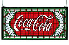 Coca Cola Victorian Web Stained Glass Window | All Things Tiffany