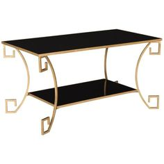Safavieh Yasemeen Greek Key Table Black ($468) ❤ liked on Polyvore featuring home, furniture, tables, accent tables, safavieh coffee table, safavieh, black table, safavieh home furniture and black coffee table