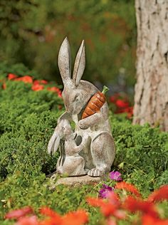 "Rabbit Sculpture: Mother's Love Garden Sculpture.  Powder-coated & painted cast-aluminum sculpture.  Hand-finished to a pleasing patina.  12"" H  $96.95"