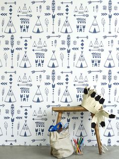 Buy online Hibou Home Teepee Wallpaper. Teepees, arrows, tribal motifs and feathers adorn our native inspired wallpaper. Perfect for your mini adventurer! Star Wallpaper, Nursery Wallpaper, Wallpaper Online, White Wallpaper, Kids Wallpaper, Perfect Wallpaper, Wallpaper Direct, Wallpaper Decor, Wallpaper Ideas